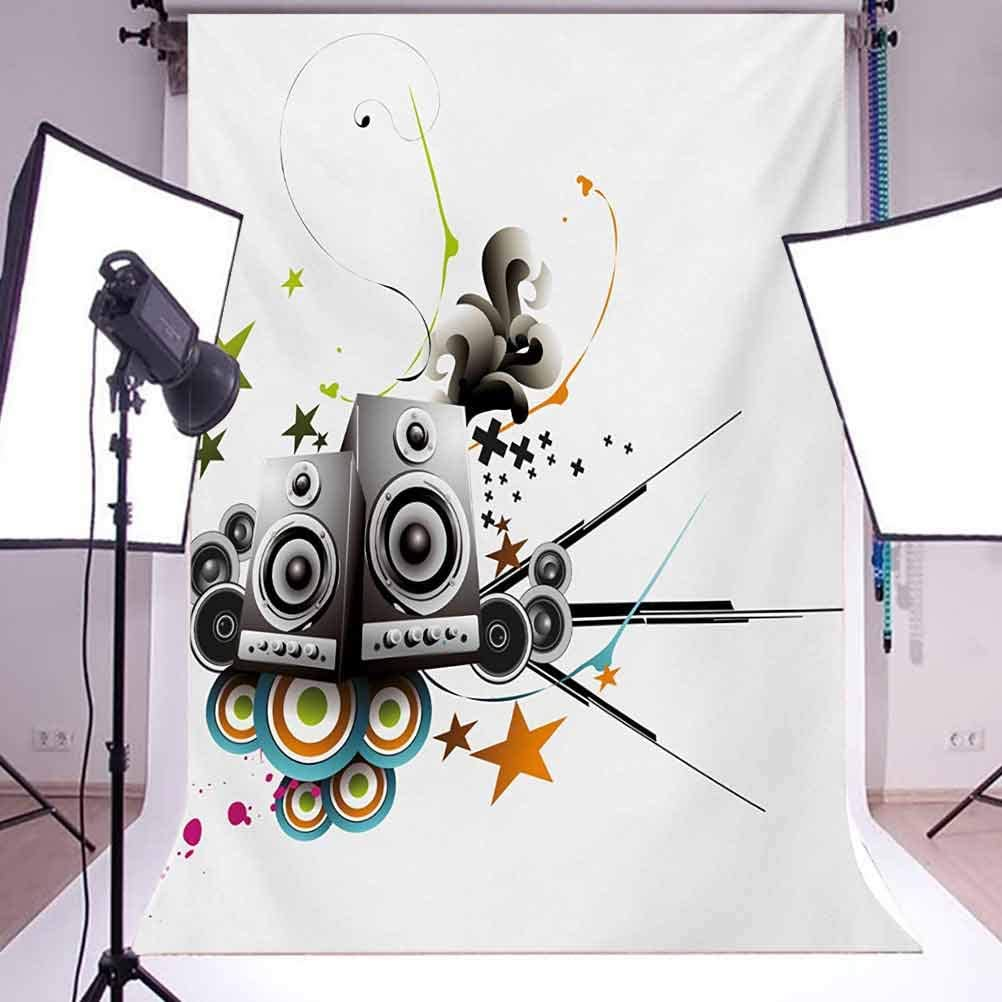 Music Set Instruments Headphones Stars and Lines Energetic Image Print Background for Baby Birthday Party Wedding Vinyl Studio Props Photography Modern 10x15 FT Photography Backdrop