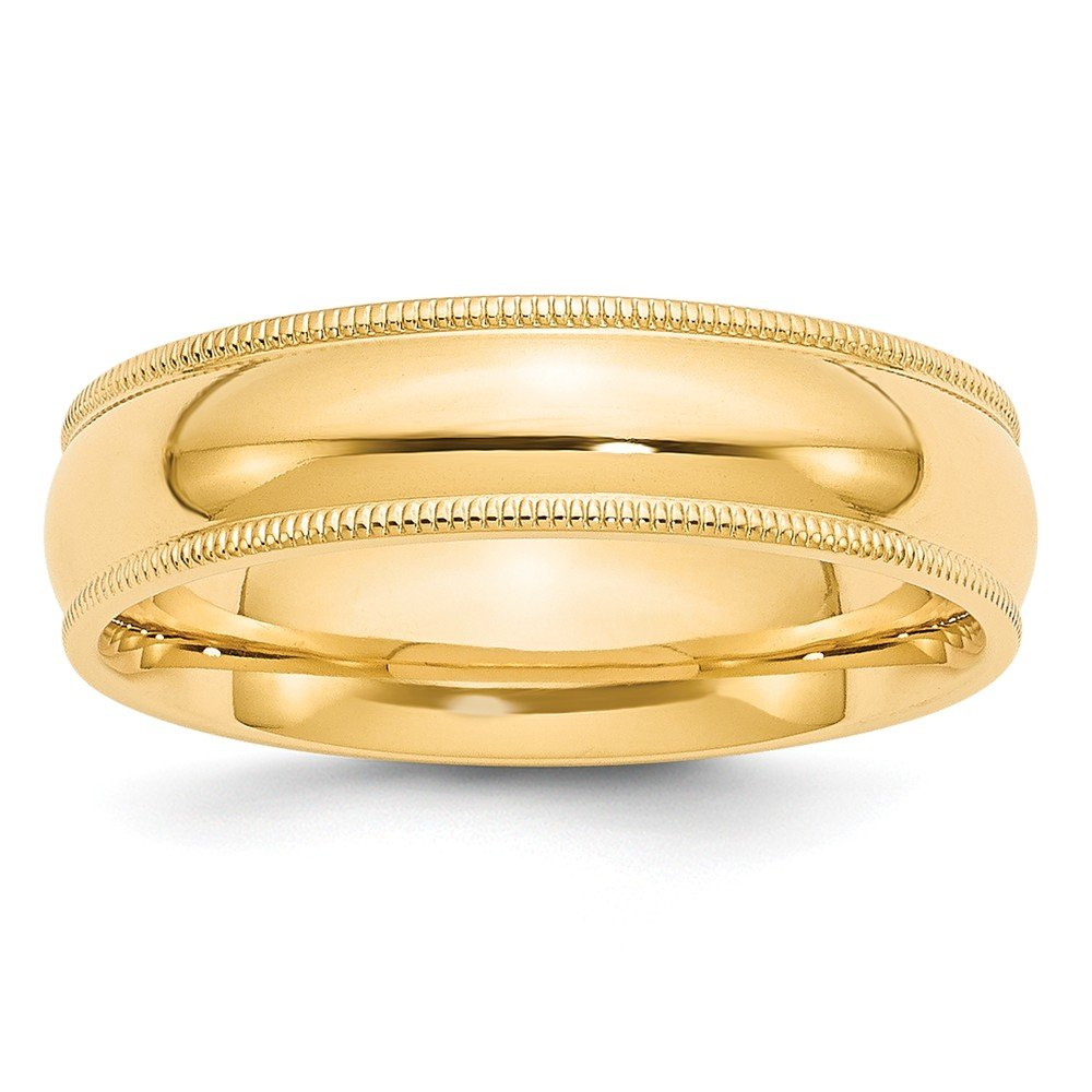 Top 10 Jewelry Gift 14KY 6mm Milgrain Comfort Fit Band Size 13.5