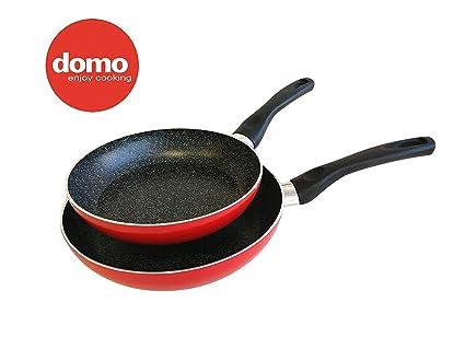 domo enjoy cooking Set Sartenes antiadherentes, efecto piedra, revestimiento con minerales, Linea Grafito