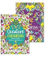 Adult Colouring Books - Set of 2 - Anti-Stress - Colour Therapy Patterns - Complete Perfect Gift Set!