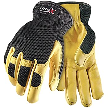 Galeton 9120050-L Max Extra Pigskin Palm Mesh Back Utility Work Gloves with Slip-on Cuff Polyester Beige//Black Large Spandex Leather