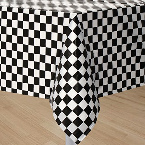 Black And White Checkered Tablecloth (GIFTEXPRESS 2-Pack Black & White Checkered Flag Table Cover Party Favor/Checkered Tablecloth/Disposable Checkered Racing Table Cover/Check Table Cover)