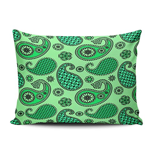 - Boitty Pillow Case Paisley Pattern Jade and Mint Green Pillowcases Personalized Decorative Modern Throw Pillow Covers Cases Rectangular Boudoir 12x20 Inches One Side