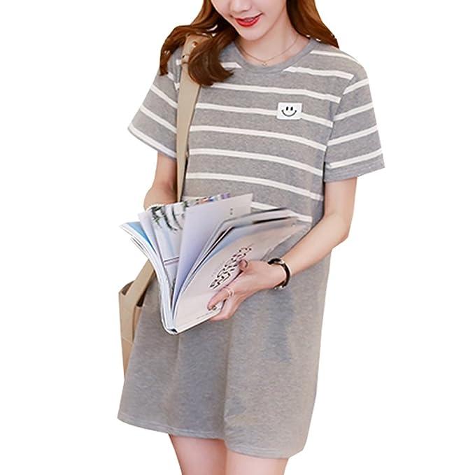 XFentech Mujer Embarazo Vestido Lactancia - Moda Raya Premamá Blusa Maternidad de Manga Corta Camiseta Vestidos Verano: Amazon.es: Ropa y accesorios