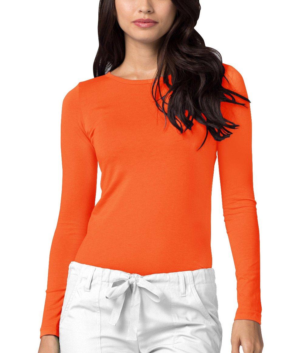 Adar Womens Comfort Long Sleeve T-Shirt Underscrub Tee - 2900 - Neon Orange - M