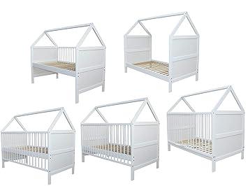Babybett Kinderbett Juniorbett Bett Haus 140x70 cm umbaubar massiv weiss