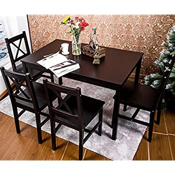 Merax 5 PC Solid Wood Dining Set 4 Person Table And Chairs(Dark Espresso)