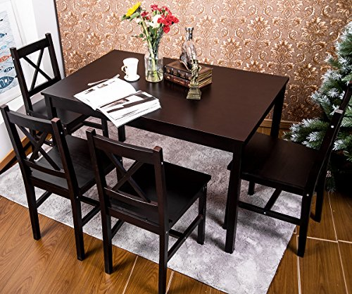 Merax 5 PC Solid Wood Dining Set 4 Person Table and Chairs(Dark Espresso) (Dining Set)