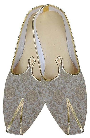 Mens Golden Brocade Wedding Shoes Traditional MJ0156