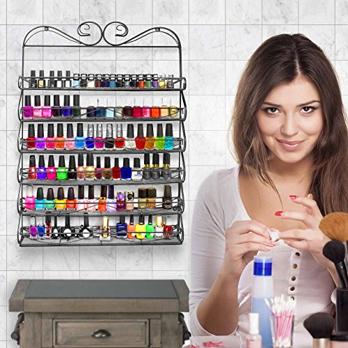 Sorbus 6 Tier Nail Polish Rack & Multi-Purpose Wall Organizer Display - Metal Vintage Style Mountable Shelf Holds at Least 72 Nail Polishes - Great for Home, Business, Salon, Spa, and More by Sorbus (Image #1)