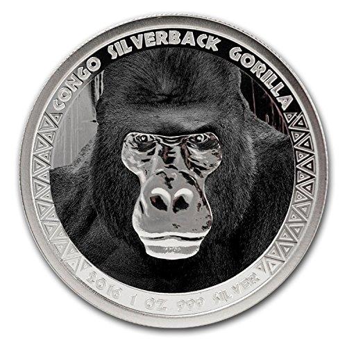 2016 Republic of Congo Silver 1 oz Silverback Gorilla (Colorized) 1 OZ Brilliant Uncirculated