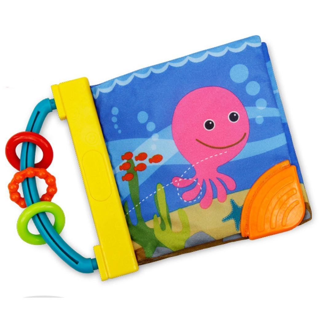 Malloom Libro infantil del bebé inteligencia desarrollo juguete conocer libros de niños paño animal de praderas y animales marinos (marinos)