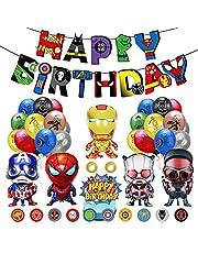 Superhero Party Decoraties - Avengers Verjaardagsfeestdecoratie Gelukkige Verjaardag Banner Avengers Aluminium Ballon Superheld Ballon Cake Toppers voor Super Hero Thema Jongens en meisjes Feestbenodigdheden