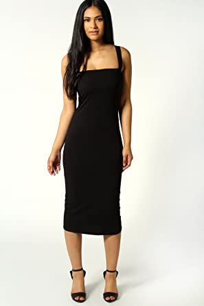 9299fdca994 Womens Jen Square Neck Bodycon Midi Dress - Black - 16: Amazon.co.uk:  Clothing