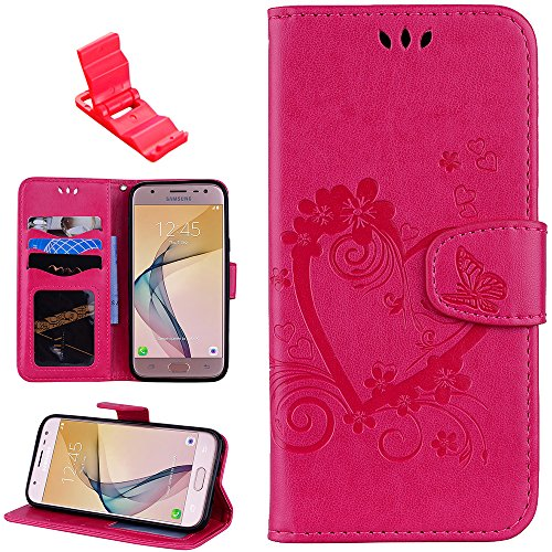 (Samaung Galaxy J530 Case, SXUUXB Premium PU Leather Notebook Cover Embossed Love Stand Card Holder ID Slot Lanyard Fip Protective Skin for Samaung Galaxy J530(Rose Red)+1x Free Bracket(Color Random).)