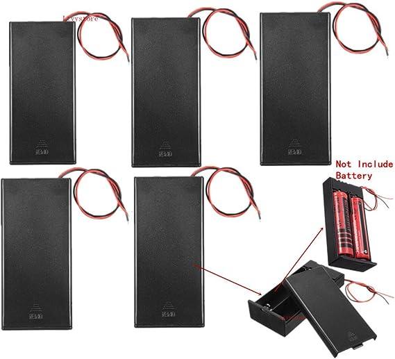 "2Pc 2X18650 Black Plastic Battery Storage Case Box Holder With 6/"" Wire Lead .DE"