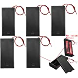 Plastic 18650 Battery Storage Case 2 Slots x 3.7V for 2x18650 Batteries Holder Box Container with ON/Off Switch, Set of 5, by Ltvystore