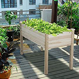 Yaheetech Raised Garden Bed Boxes Kit Flower Plant Planter Box Elevated Garden Bed Vegetables Solid Wood 6 Stable and Durable Wooden Garden Bed: This solid fir wood ensures the durability and solidness, which is stable and durable enough to strongly support the weight from the garden bed itself, soil and plant, ideal for all years' use. Sturdy and Long-lasting Frame: The whole construction is made of long-lasting solid fir wood which is stable and durable enough to strongly support the weight from the garden bed itself and plant. Helpful Vegetable Garden: With this helpful planter box, you can cultivate plants like vegetable, flowers, herbs in your patio, yard, garden and greenhouse, and make them more convenient to manage.