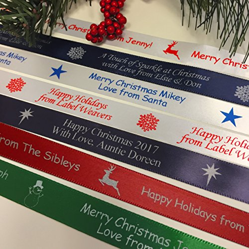 Personalized Christmas Ribbon - Customized with Your Text for Gift Wrapping (5 Yards) (Personalized Christmas Ribbon)