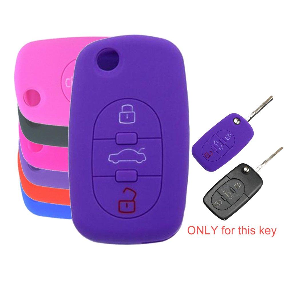 tuqiang/® pour Audi A6/A4/A4L A6L A1/1pc Violet 3/boutons intelligent Coque klappschl/üssel en silicone Cl/és de Voiture Cl/é Cover