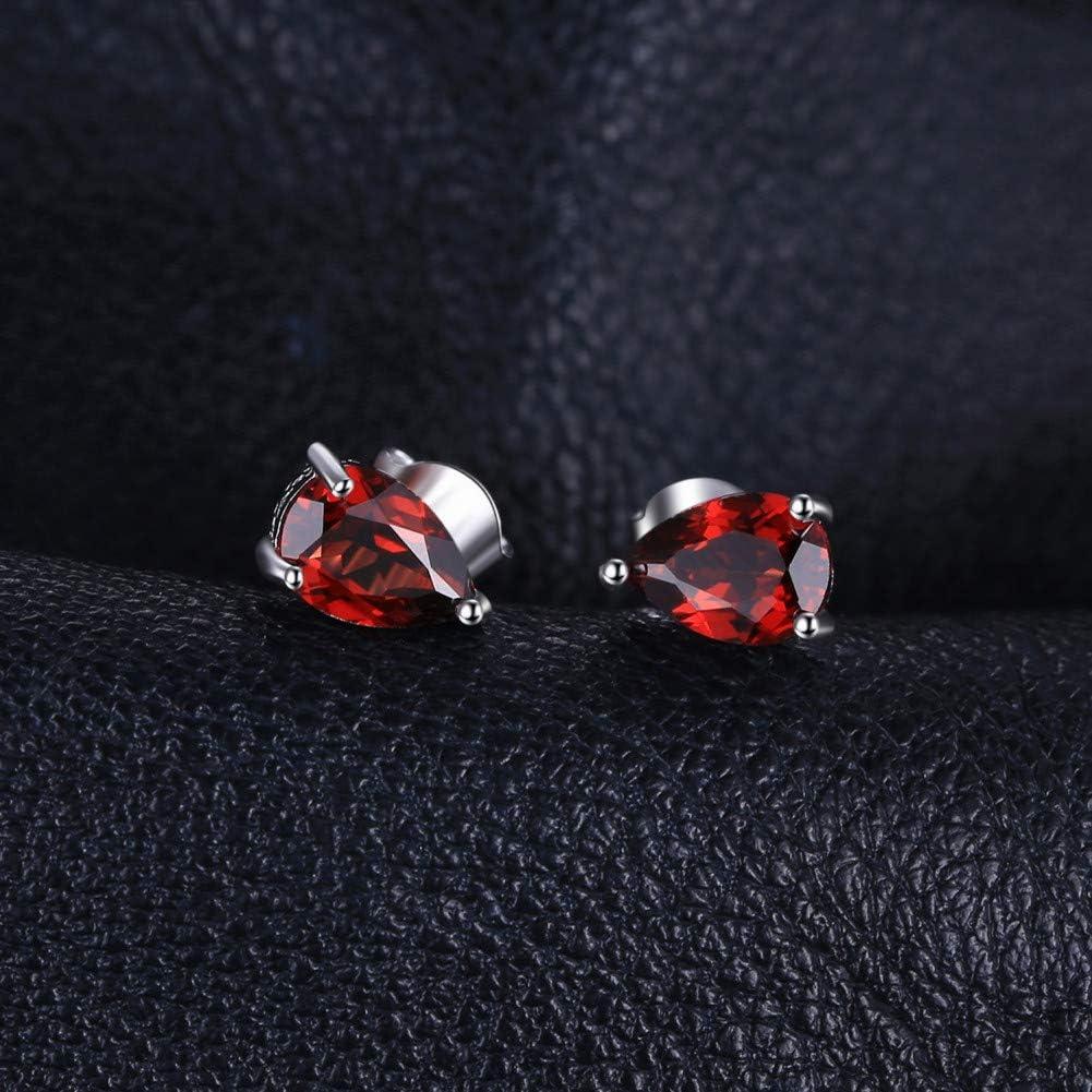 GUOZHENG Jewelrypalace 1.8Ct Pera Genuino Granate Pendientes 925 Pendientes De Plata Esterlina para Mujeres Aretes Joyería De Moda