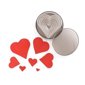 Amor corazón molde para galletas para hornear, de calidad alimentaria plástico Pack Juego de cortador de corazón: Amazon.es: Hogar