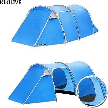 Kikilive Tienda de campaña de túneles para Acampar,Dos Habitaciones(Dormitorio y Sala de Estar),Doble Capa Impermeable 3 Puertas 4 Temporada Carpa Familiar para túneles: Amazon.es: Deportes y aire libre