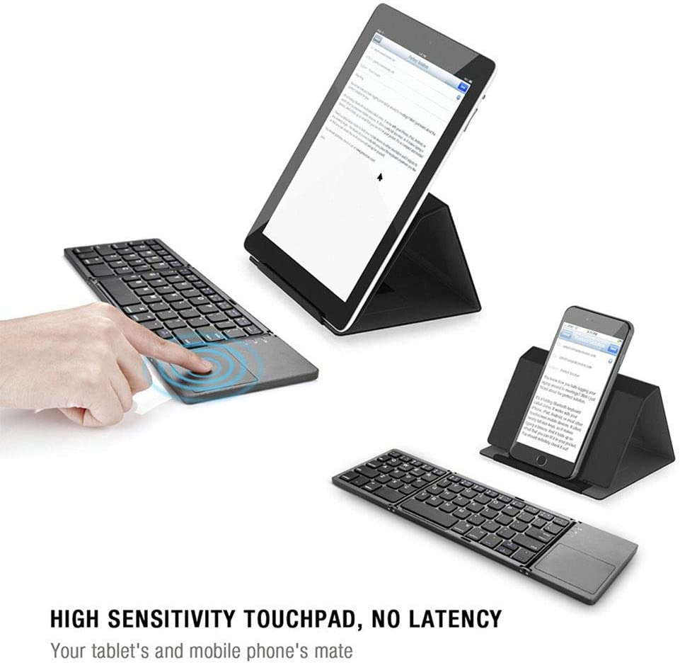 sakd Blueteeth Keyboard Foldable BT Wireless Keyboard USB Charging 63 Keys Compatible with iOS//Windows//Android For Tablets Laptops Smartphone White