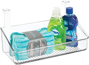mDesign Plastic Over Cabinet Door Storage Organizer Bin for Kitchen, Pantry, Bathroom, Laundry, Utility Room - Hang Outside or Inside Door - Holds Lunch Bags, Shampoo, Cleaning Supplies, Small - Clear