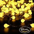 Cadena de Luces, REDU Cadena de Bombillas5m, tipo esferico, resistente al agua, 50 bombillas blancas calidas, adornos navidenos, festivales, interiores, terrazas al aire libre, etc. (50 ampoules)