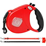 HODGSON Retractable Dog Leash with Two Alternative Bite-proof Front Part Leashes, Heavy-Duty and Fluorescence Design for One or TWO Dogs