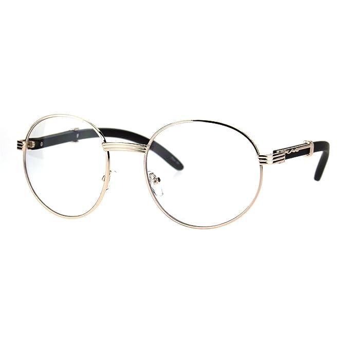 Amazon.com: Redondo Lente Transparente anteojos de madera ...