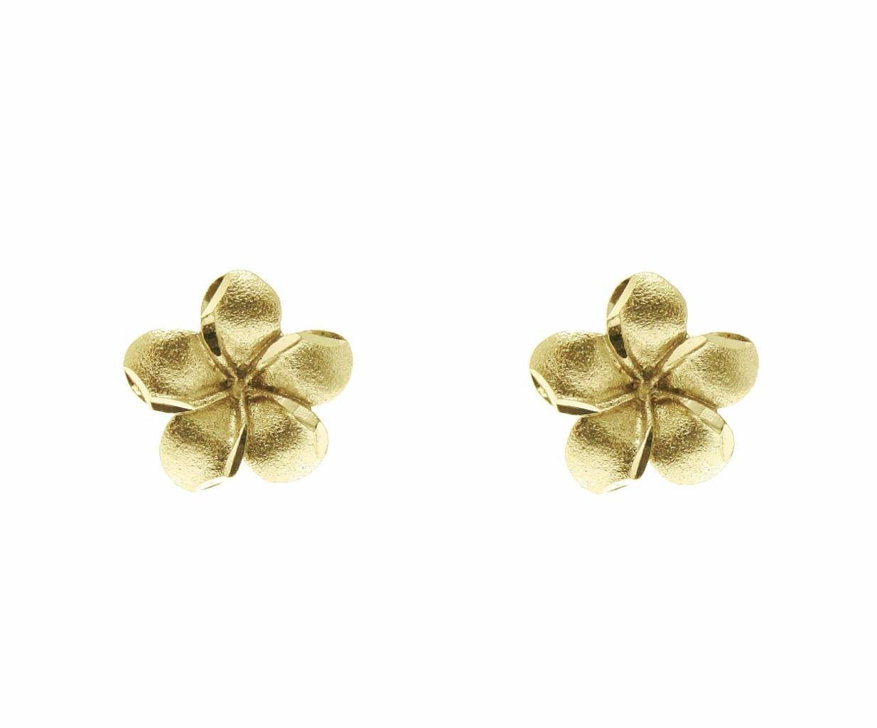 14K solid 9mm yellow gold Hawaiian tropical plumeria flower stud post earrings