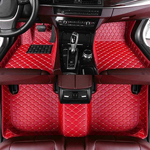 8X-SPEED Custom Car Floor Mats Fit for Mercedes Benz CLA Class 180 200 220 250 260 2014-2019 Full Coverage All Weather Protection Waterproof Non-Slip Leather Liner Set Red