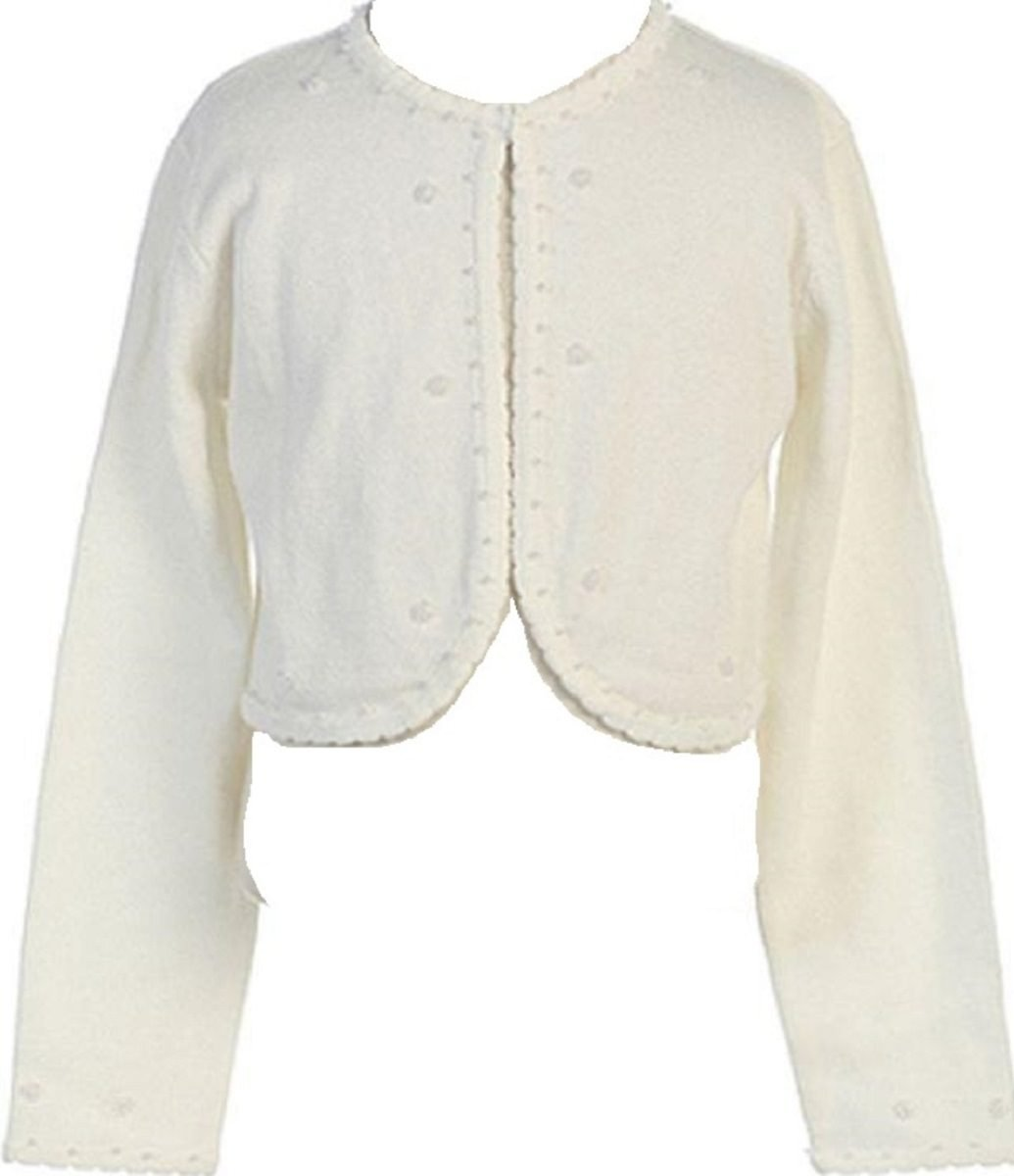 Little Girls Beaded Knit Cotton Bolero Shrug Sweater Ivory Size L (8-10)