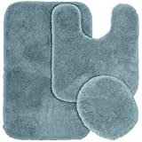 Bathroom Rug Sets Blue Garland Rug 3-Piece Finest Luxury Ultra Plush Washable Nylon Bathroom Rug Set, Basin Blue