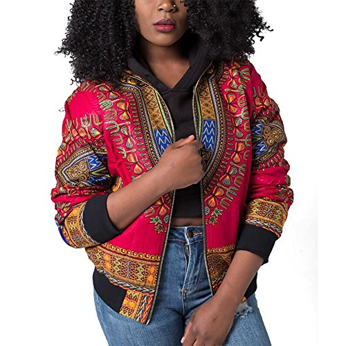 Joseph Costume Women's Casual African Print Zipper Dashiki Short Bomber Jacket Coat With Pockets Red XL ()