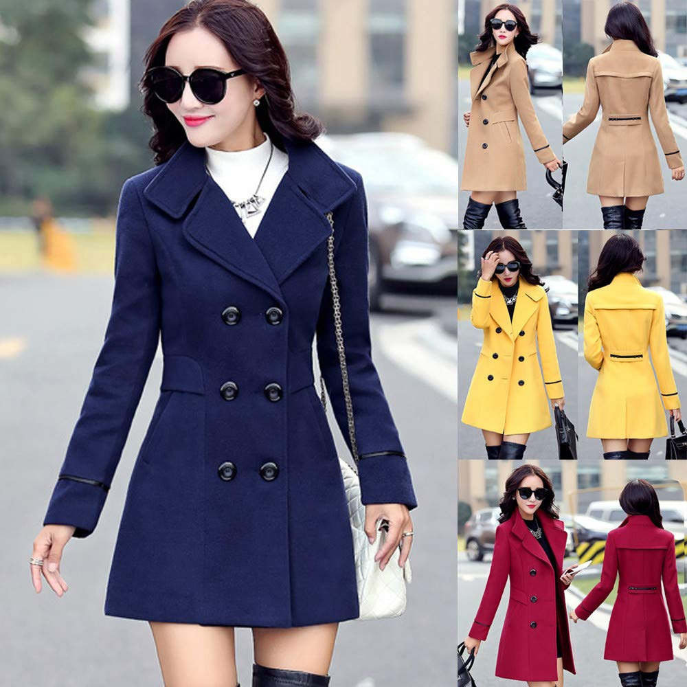 Amazon.com: POTO Women Coats Ladies Double Breasted Pea Coat Elegant Winter Lapel Wool Coat Trench Jacket Overcoat Outwear: Clothing
