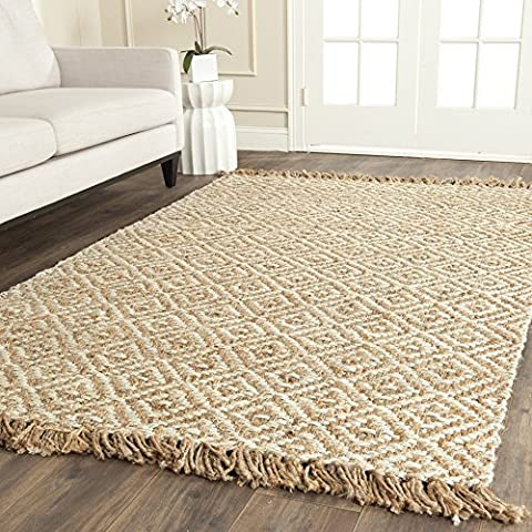 Safavieh Natural Fiber Collection NF450A Hand Woven Natural and Ivory Jute Area Rug (4' x 6') (Area Rugs Natural Fiber)