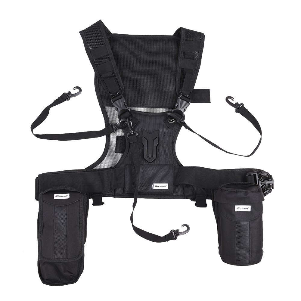 Micnova MQ-MSP07 Outdoor Photography Multi Camera Carrying Vest Carrier Chest Harness System with Lens Flashlight Bags Tripod Holder Safety Straps for Canon Nikon Sony DSLR Camera by Micnova