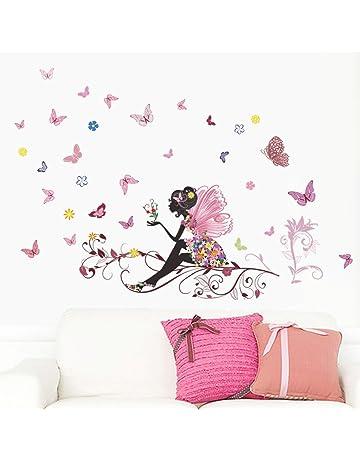 LuckES extraíble de flores hada mariposas pared adhesivos adhesivo para las niñas habitación de niño Wall