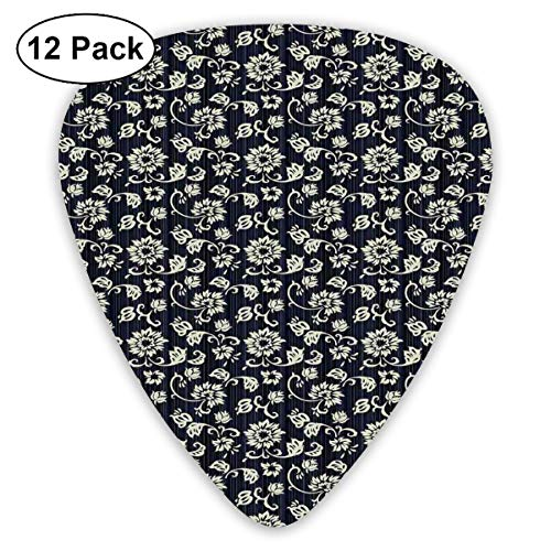 Inspiration Bouquet - Guitar Picks 12-Pack,Retro Romantic Rose With Valentines Day Inspirations Flower Bouquet Silhouette