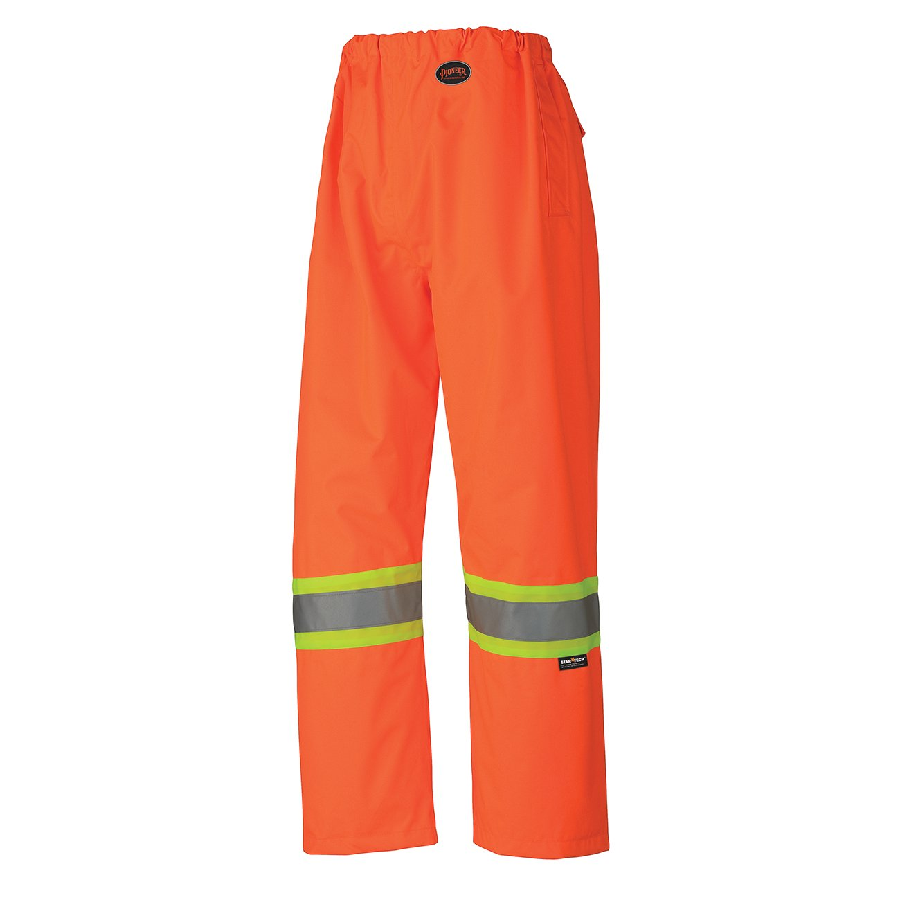 Pioneer V1110360-S High-Vis Heavy-Duty Waterproof Safety Work Pants - Elastic Waist, Yellow-Green, S