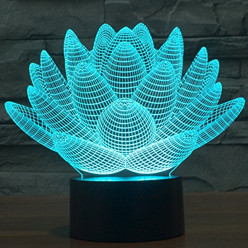Lotus Flower Night Light 3D Led Illuison Table Lamp, YKL WORLD Touch 7 Color Changing Desk Beside Lamps Toys USB Powered Christmas Birthday Party Supplies Gifts for Kids Families