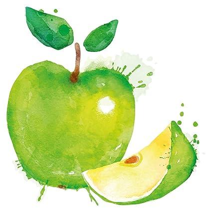 Pegatina De Pared De Cocina Acuarela Verde Manzana Fructificar