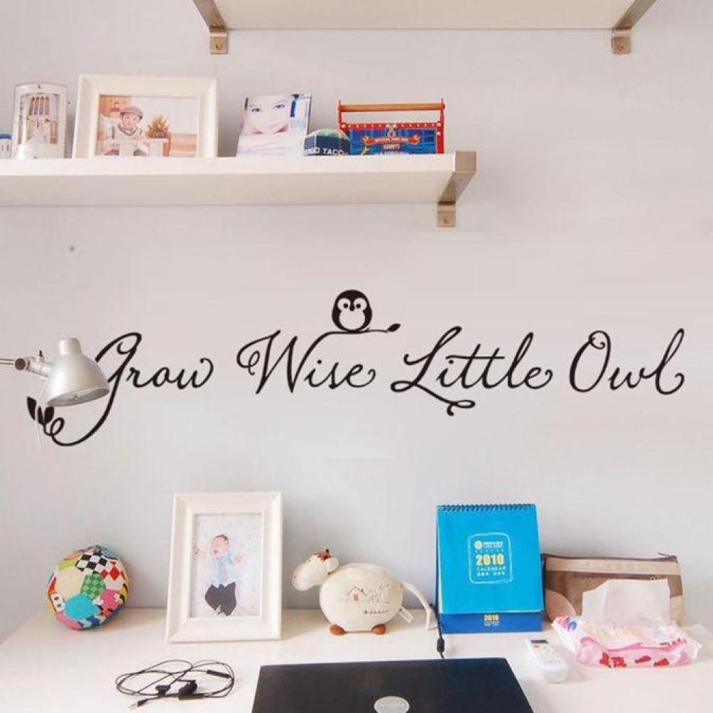 Ussore Grow With Little Owl English Vinyl Wall Decals Wall Stickers Home Decor living room office