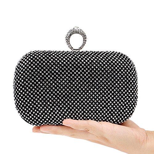 Clutch Women Bridal Gift Purse Bag Glitter Wedding Handbag For Prom Diamante Black Evening Clubs Bag Party Shoulder Ladies dxwxv