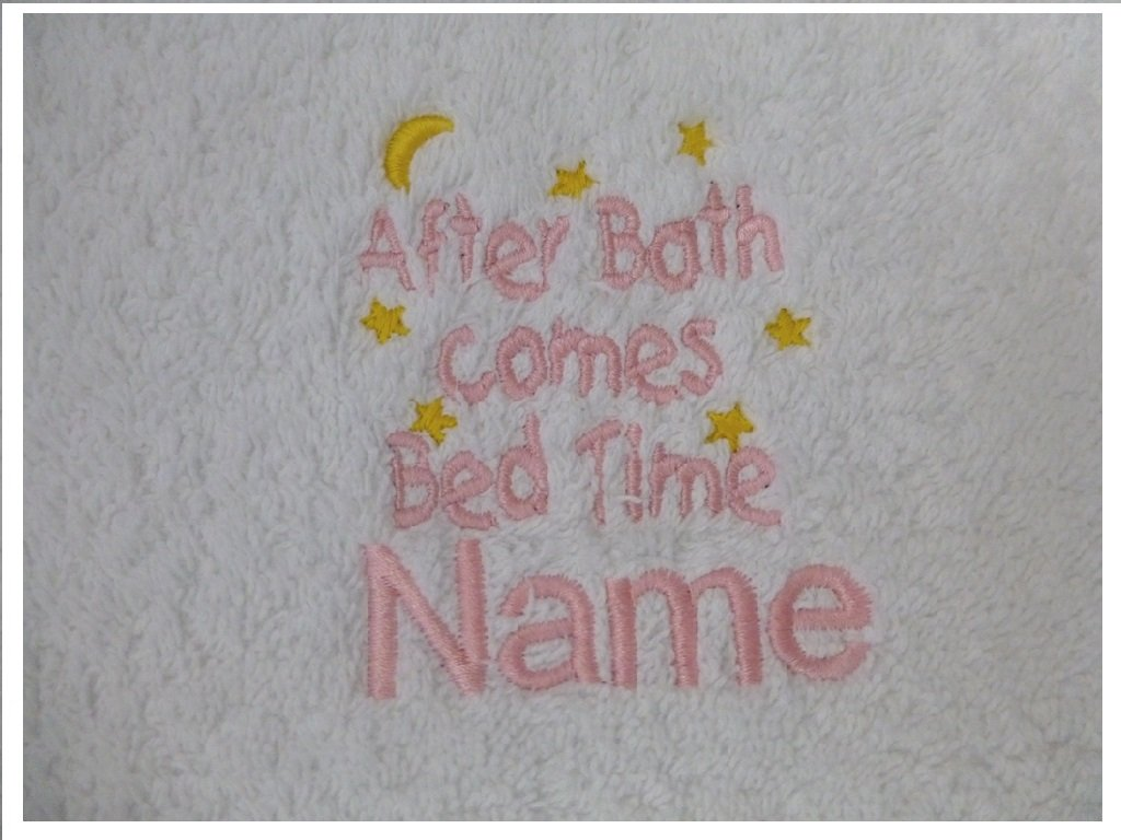 Adult Bath Robe with a AFTER BATH COMES BED TIME Logo and Name of your choice in White, Size Medium, Large, XLarge or XXLarge (Medium)