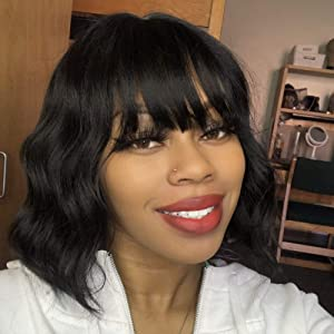 ENTRANCED STYLES Short Curly Wavy Bob Wigs for WomenBlack Wig with Bangs Synthetic Heat Resistant Fiber Hair