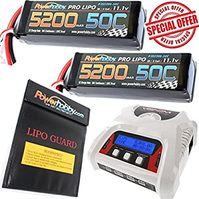 PowerHobby 3S 11.1V 5200mAh 50C Lipo Battery 2 Pack Traxxas w Lipo Bag & Charger